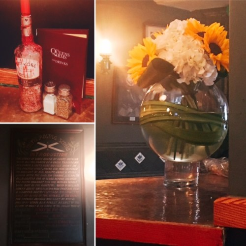 The Queen's Arm decor mixes the modern with the olde worlde and some beautiful fresh flowers