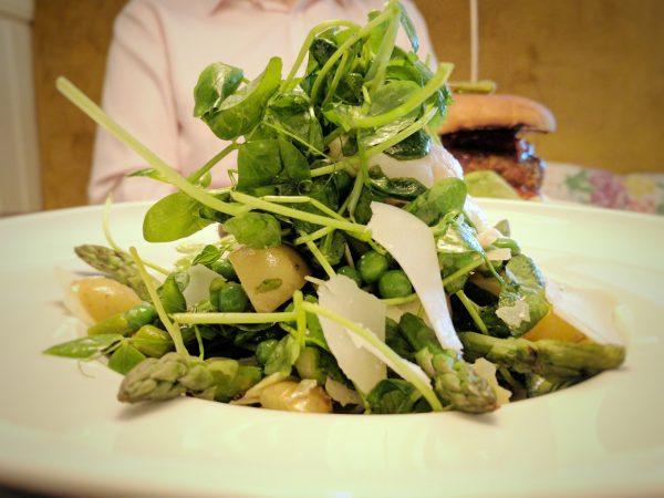 Asparagus and pea cob salad. Fresh and summery.