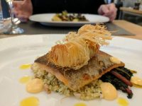 Sea bass with crispy langoustine and richly savoury couscous.