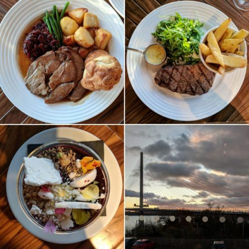 Roast lamb dinner, sirloin and chips, perfect posset and sunset over the new bridge.