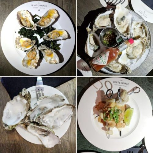 Warm oysters with kimchi butter, Irish oysters with classic Tabasco, shells and monkfish satay skewers.