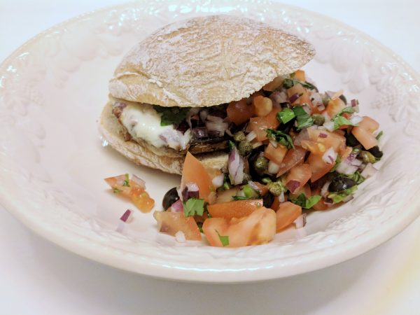 Portobello mushroom burger: not something I would have thought to cook.
