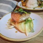 Salmon with ginger pancakes