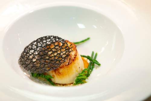 Roasted scallop with sweet cicely
