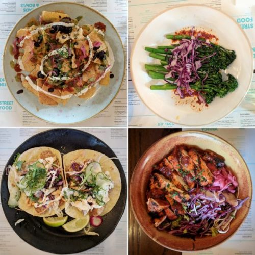 Mexico City nachos for nibbles, grilled broccoli, cod tacos and Mexican bowl with chicken.