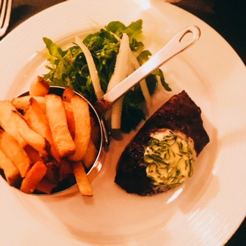 Flat Iron Steak, Garlic and Herb Butter, and Hand Cut Chips