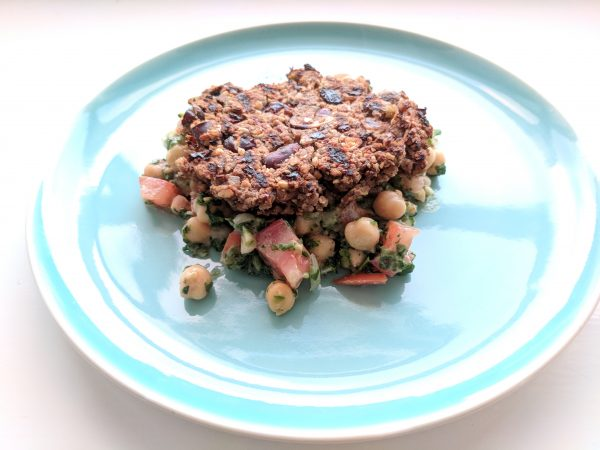 Chickpea salad with nutburger. Tastes much better than it looks since I over-browned (no, didn't burn it. Didn't) the burger a little.