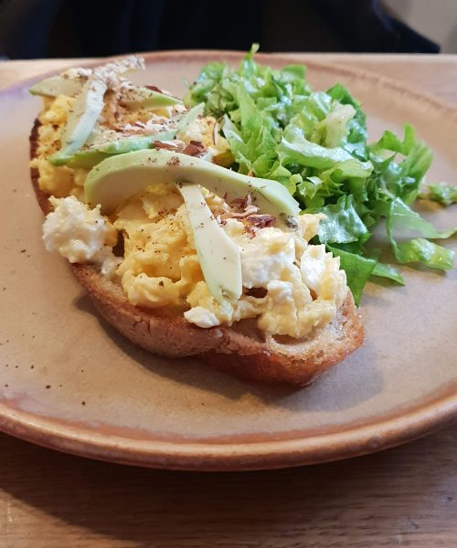 Scrambled egg on sourdough