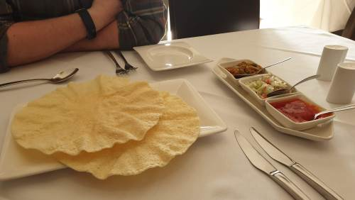 Poppadums and chutneys