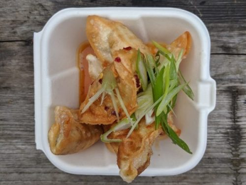 Vegetarian gyoza - delicious consumed al fresco.