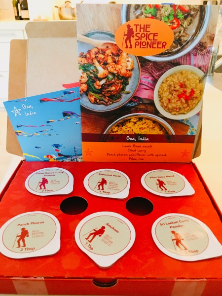 The Spice Pioneer kits come with all the spices you need, a shopping list and simple, instructions ready to follow