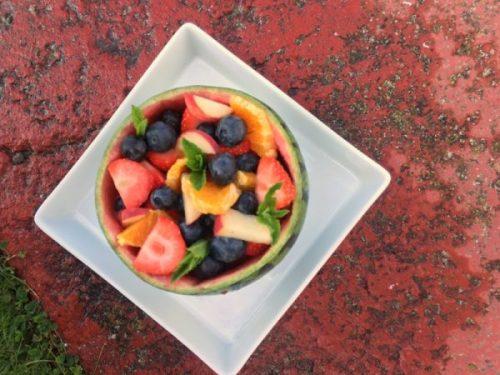 Melon and fruit medley - a summery, fresh sharing dessert.