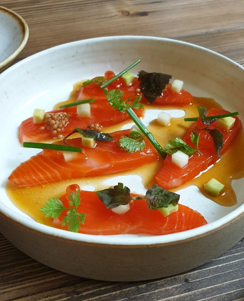 Cured trout with dashi