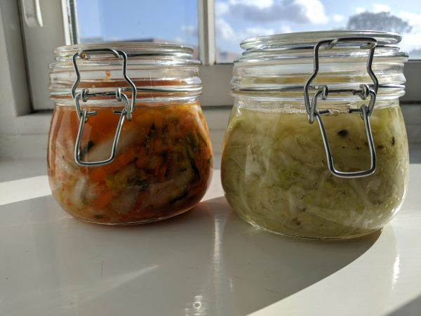 Kimchi and kraut, just hanging out.