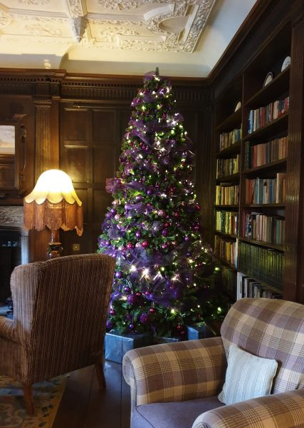 Christmas tree in the library at Roman Camp Hotel