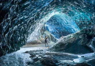 In a glacial cave