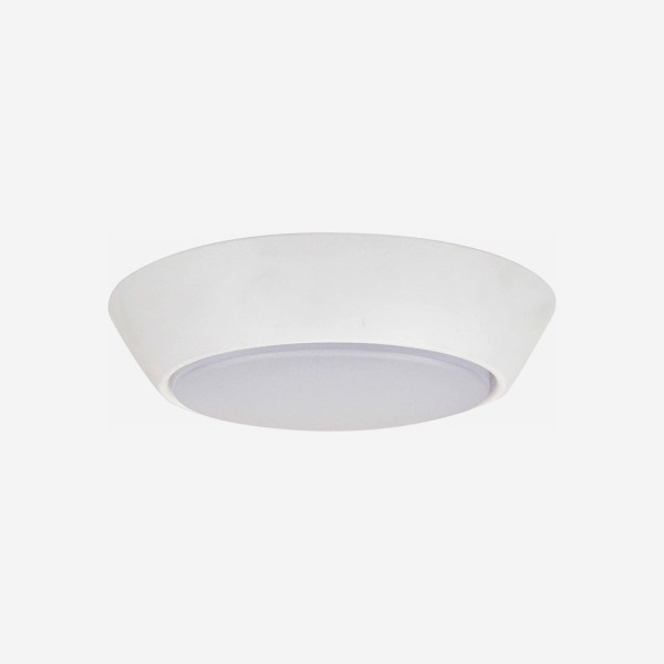 Compact Flush Mounts with white finishes. Flush to the ceiling