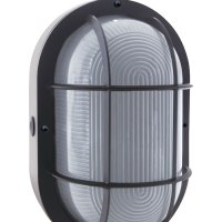 Bulkhead Wall Light with protective metal grating outside the LED light bulb.
