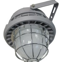 Hazardous Locations Luminaires with silver encasing and guards around the LED light bulb
