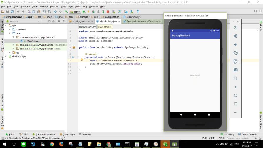 Tes membangun Hello World versi Android dengan Editor Androdi Studio