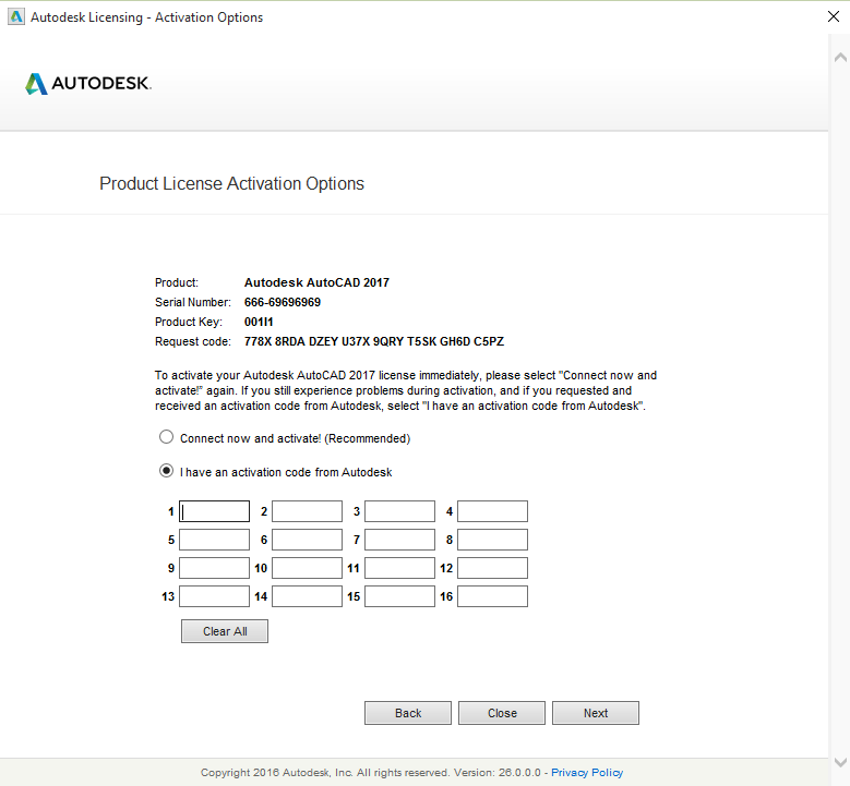 Autocad 2017-Product License Activation Option