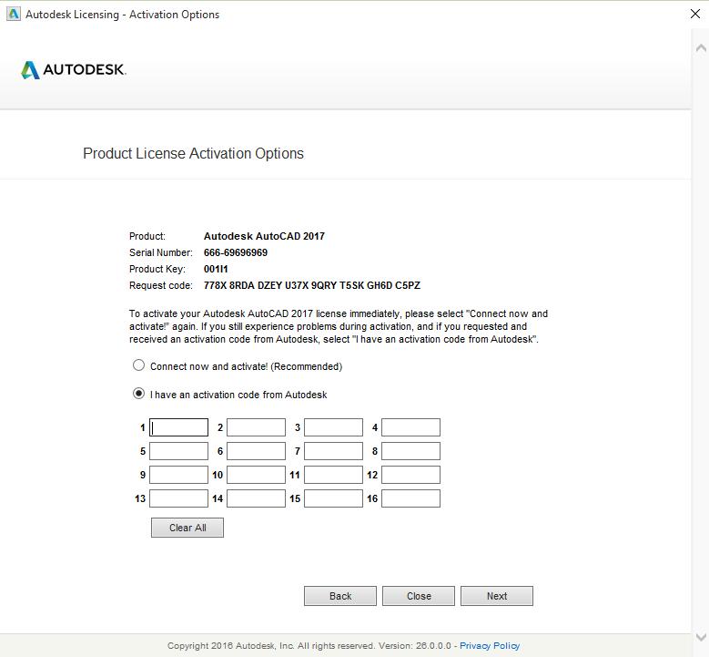 Autocad 2017-Product License Activation Option