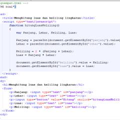 Javascript hitung luas dan keliling segi empat