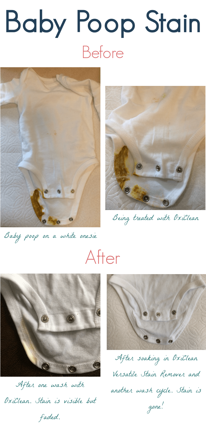 Before and after pictures of a baby poop stain treated with OxiClean