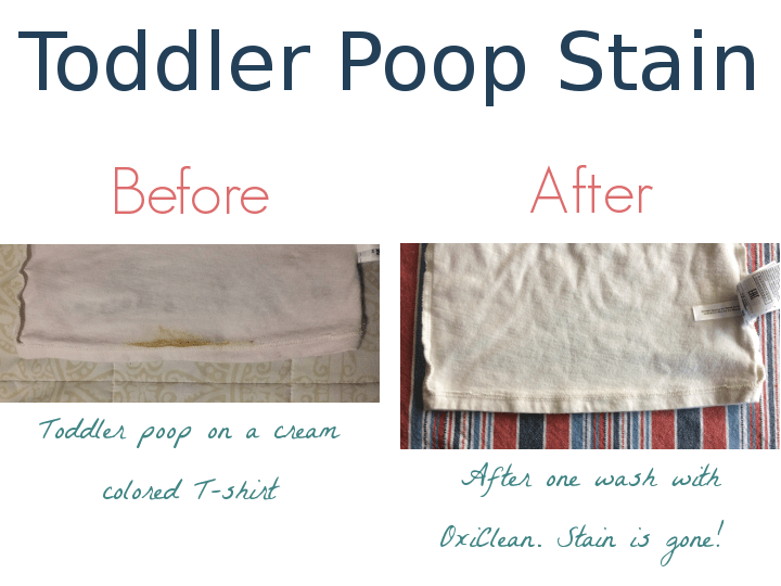 Before and after pictures of a toddler poop stain treated with OxiClean