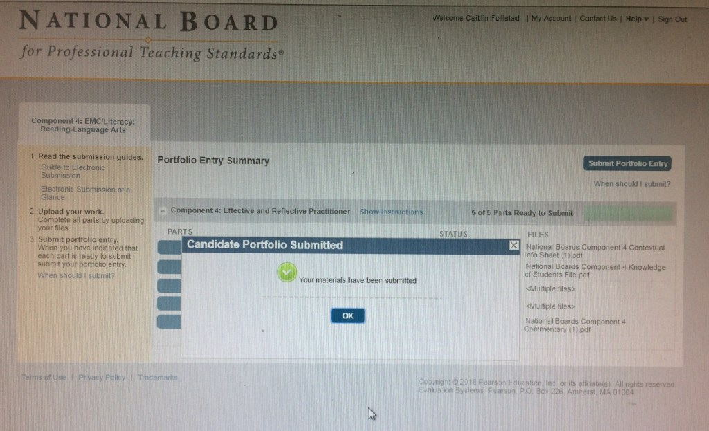 Submission window of National Boards