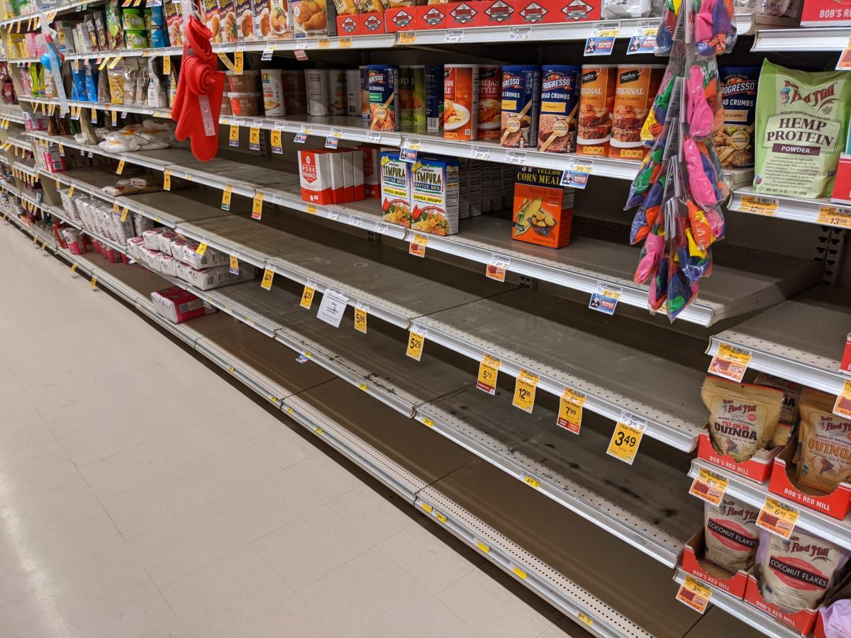 Empty baking aisle shelves