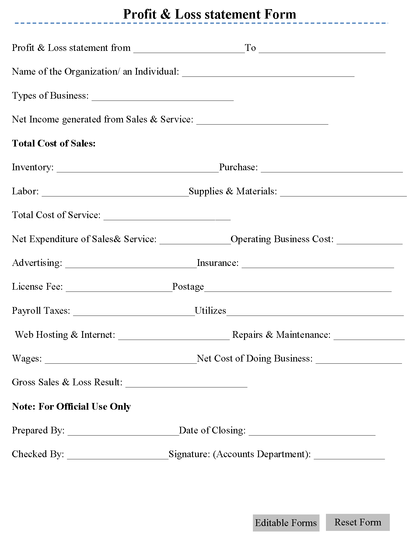 Profit Amp Loss Statement Form