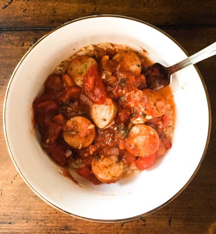 Italian Chicken Sausage Bowls w/ Cauliflower Rice