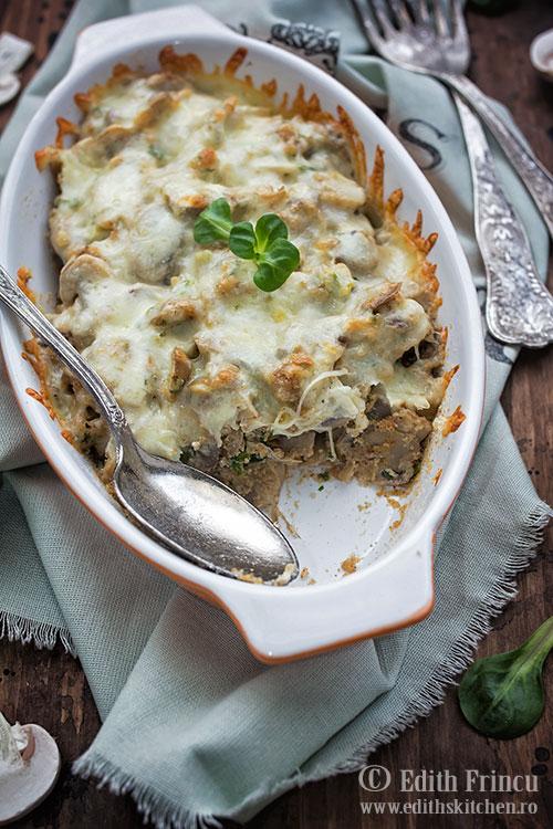 Ciuperci gratinate cu mozzarella / Ciuperci, mozzarella, pesmet, ceapa verde si patrunjel / Edith's Kitchen