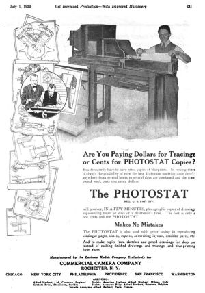 Commercial Camera Company Photostat ad from the July 1, 1920 issue of American Machinist.
