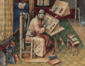 Depiction of scribe writing in a multi-quire codex