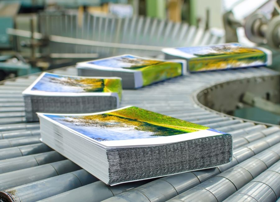 Brochures on a production line.