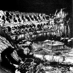 """""""EL SABUESO Y OTRAS HISTORIAS DE H. P. LOVECRAFT"""" """"El templo"""". Interior."""