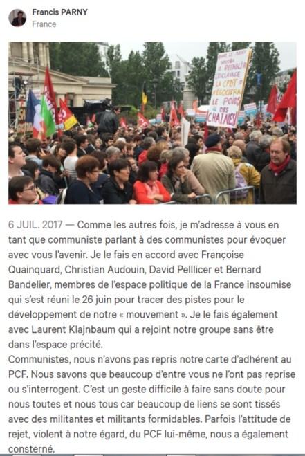 L'opportuniste Francis Parny et ses copains quittent (enfin) le PCF