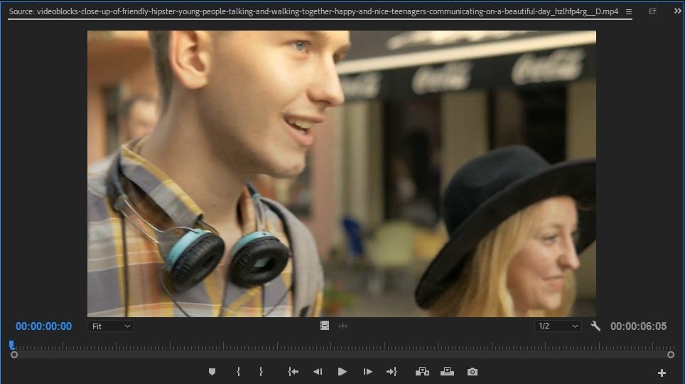 Adobe Premiere Pro Source Monitor