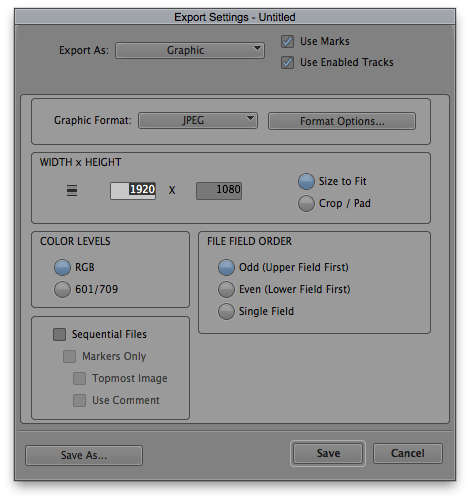 Export Graphic Settings in Avid Media Composer
