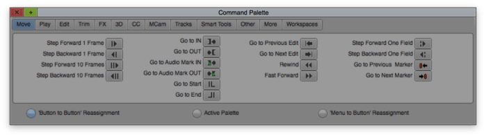 Command Palette in Avid