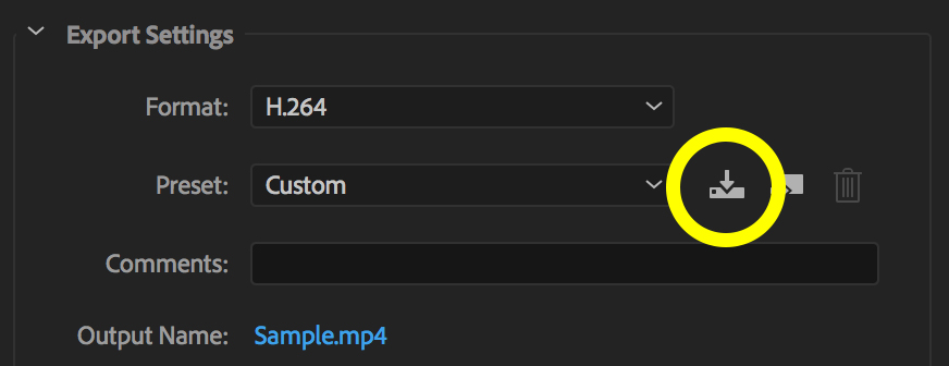 Adobe Media Encoder Export Settings with Save Preset button circled