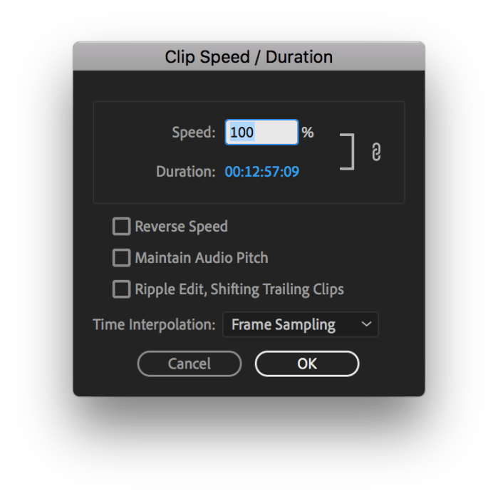 Clip Speed / Duration box in Adobe Premiere Pro 2019