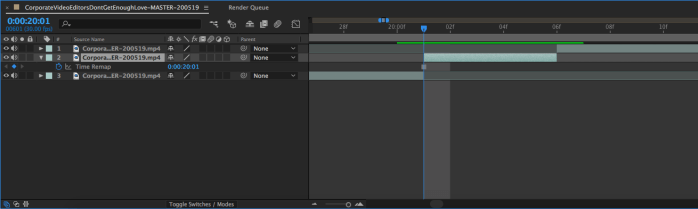 Stack of three layers in After Effects for freeze frame workflow