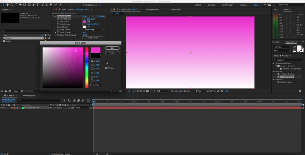 Change Start Color of Gradient in After Effects