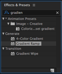 Gradient Ramp Effect in Effects & Presents Panel in After Effects