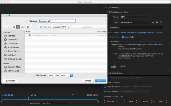 Changing the Output Name in Premiere Pro Export Settings