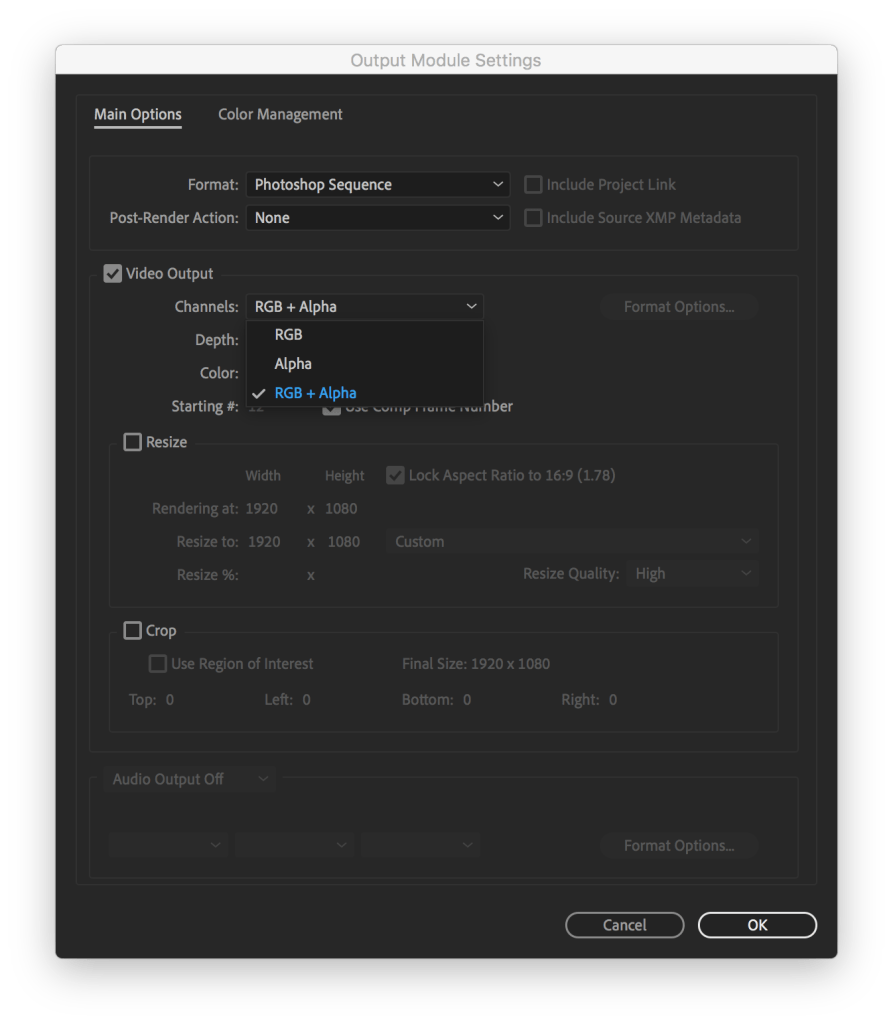 Channels dropdown to decide if you want an alpha channel on your image file