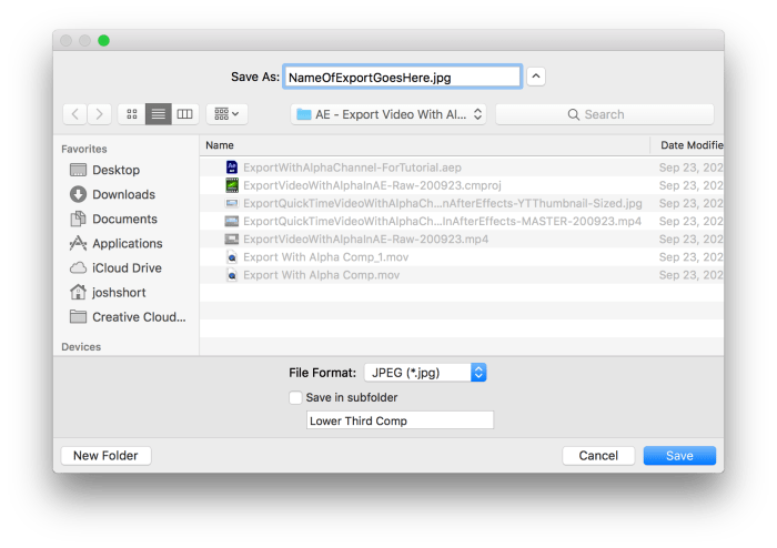 Output To Settings in After Effects for determining where the new frame file will go